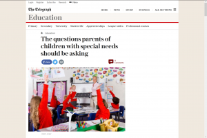 Screenshot of the questions parents of children with special needs should be asking article