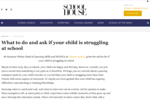 Screenshot of what to do and ask if your child is struggling at school article